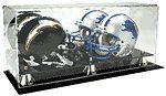 Double Mini Football Helmet Display case Black acrylic base P371DB by Pennzoni Display. $25.60. This is an all acrylic double mini football helmet case with a black acrylic base and gold risers. This is perfect to keep your favorite autographed mini helmets in. .Holds 2 mini football helmets - Also holds mini goalie masks or mini racing helmets - Made of high clarity acrylic -UV Protection - Perfect for autographed mini helmets Dimensions - Exterior 7 X 17 3/...