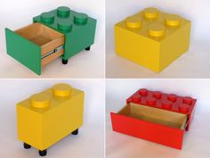 LEGO drawers? awesome. Use to color coordinate clean-up of LEGOs or for decorations at a LEGO themed party.