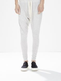 relaxed fit drop crotch organic cotton jersey pant with elastic waist and webbed cotton drawcord.tapered fit through leg. made in australia.