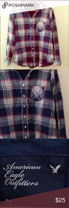 Plaid Flannel Shirt American Eagle Outfitters Cozy plaid flannel perfect with leggings and your Toms or Boots! Nearly new condition with colors of blue, red, cream, off white. Tagged size 14, most likely fits L to XL. American Eagle Outfitters Tops Button Down Shirts