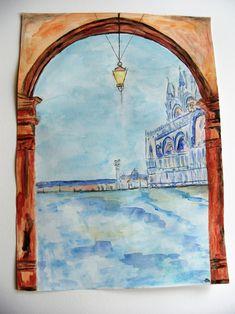aquarelle originale paysage d'Italie