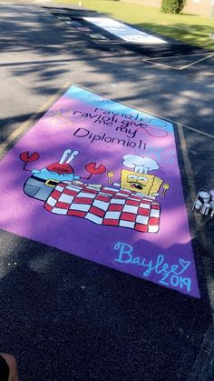 Do you have/want a senior parking? High School Graduation, Graduate School, High School Seniors, Graduation Caps, Grad Cap, Graduation Cap Designs, Graduation Cap Decoration, Spongebob, Parking Spot Painting