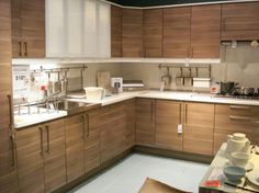 new 2013 light brown ikea kitchen