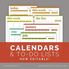 Calendars & To Do Lists – Editable, Daily, Weekly and Monthly Planners, Scheduling, Docket, Printable Planner  //  Household PDF Printables on Etsy, $10.00