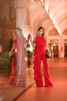 Macacão Vermelho_Iorane_Look da Thassia na MFW_1 Macacão – Iorane | Bolsa – Gucci | Joias – Marcella Bahia