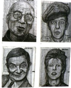 Faces carved into telephone directories. The artist is Alex Queral