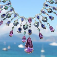 Kunzites, green beryls, tanzanites and brilliant-cut diamonds decorate this necklace from Chopard's Red Carpet collection. http://www.thejewelleryeditor.com/jewellery/article/cannes-film-festival-red-carpet-jewellery-behind-the-scenes/ #jewelry