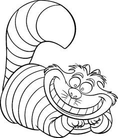 cat clip art | Free Printable Disney Alice in Wonderland Cartoon Coloring Pages