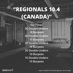 """Regionals 10.4 (Canada)"" WOD - For Time: 50 Double-Unders; 10 Burpees; 40 Double-Unders; 10 Burpees; 30 Double-Unders; 10 Burpees; 20 Double-Unders; 10 Burpees; 10 Double-Unders; 10 Burpees"