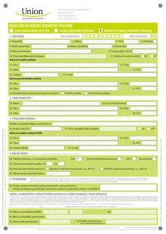 tlačivo - prihláška do Union zdravotnej poisťovne