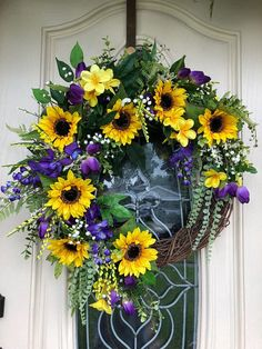 Sunflower wreath, all season wreath, spring summer wreath, wreath for front door, purple and gold sunflower wreath, best front door wreath,