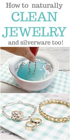 How to Clean Jewelry Naturally and Silverware Too - an easy and fast method for cleaning silver and gold jewelry using natural ingredients like baking soda, dish liquid and aluminum foil. via cleaner, How to Clean Jewelry Naturally and Silverware Too Deep Cleaning Tips, House Cleaning Tips, Diy Cleaning Products, Spring Cleaning, Cleaning Hacks, Diy Hacks, Cleaning Solutions, Natural Cleaning Recipes, Daily Cleaning