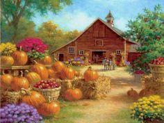 """Pumpkin Barn"" - Ray Mertes (108 pieces)   ...   2013   ..."