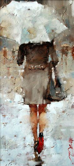 """Esquisse on the Theme of Red, 19"""" x 9"""", Oil by Andre Kohn  http://www.andrekohnfineart.com/ #OilPaintingPeople"""