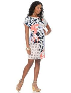Amazon.com: A Pea in the Pod: Donna Morgan Short Sleeve Side Tie Maternity Dress: Clothing