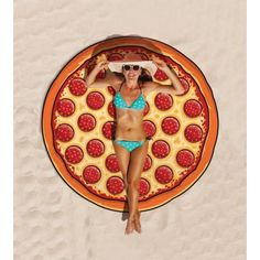 Gigantic Pizza Slice Round Beach Pool Home Shower Towel Blanket