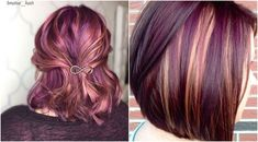 fall hair Peanut Butter And Jelly Hair Is The Ultimate Trend Youll Need This Season Magenta Hair Colors, Purple Hair Highlights, Peekaboo Highlights, Fall Highlights, Chunky Highlights, Caramel Highlights, Hair Color And Cut, Cool Hair Color, Hair Color Techniques