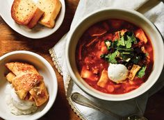 Lasagna Soup Insalata With Cinnamon Peach Crescents