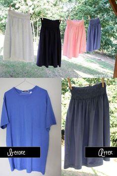 T-Shirt to skirt tutorial clothing refashion przeróbki ubrań Diy Clothes Refashion, Diy Clothing, Sewing Clothes, Thrift Store Refashion, Refashion Dress, Redo Clothes, Skirt Fashion, Diy Fashion, Diy Kleidung