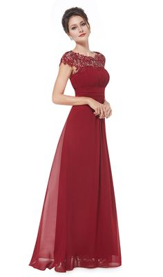 Burgundy Lacey Neckline Open Back Ruched Bust Evening Dress