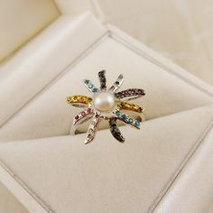 Blossom ring with pearl & rough diamonds - single piece - Beading Crafts Joy Shop, Rough Diamond, Ring Verlobung, Wedding Night, Single Piece, Favorite Holiday, White Gold, Brooch, Gifts