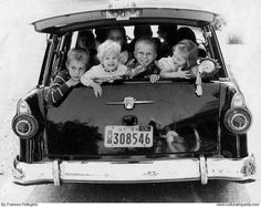 By: Frances Pellegrini, 1950's. Remember when everyone would pile in and you didn't worry about seat belts.