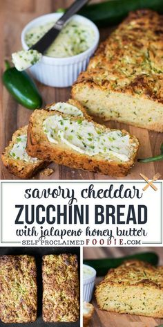 Cheddar Zucchini Bread with Jalapeno Honey Butter made with freshly grated zucchini is a delicious no-added sugar quick bread. Talk about a tasty sweet and savory summer quick bread! #zucchinibread #cheddar #honeybutter #jalapeno #savory #baking #recipe Savory Zucchini Bread, Savory Bread Recipe, Banana Bread Recipes, Courgette Bread, Healthy Zucchini, Muffin Recipes, Healthy Food, Beef Recipes, Cooking Recipes