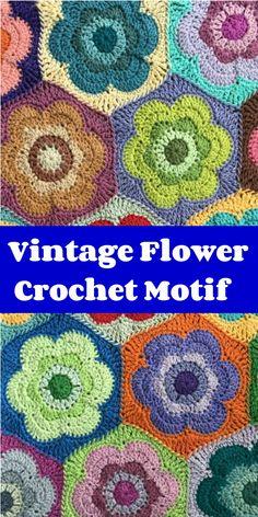 Vintage Flower Hexagon Crochet motif Crochet Motif Patterns, Crochet Blocks, Hexagon Crochet, Crochet Squares, Crochet Doilies, Crochet Flowers, Granny Squares, Blanket Patterns, Irish Crochet