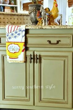 Savvy Southern Style: Kitchen Cabinets Tutorial with chalk paint and antique glaze
