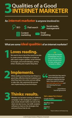 3 Qualities of a good internet marketer #infografia #infographic #marketing