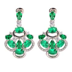 "Green Quartz Cubic Zirconia Silver Earrings Wholesale Retail Hot Sell For Fashion Women Jewelry Stud Earrings 1 1/4"" FH6208"