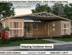 container house 3 shipping containers combined floor plans - cheap home design Plan Number: 2 Bedroom + Bathrooms + Living Room + Alfresco Home Size: Total: foot or - Shipping Container Home Designs, Cargo Container Homes, Building A Container Home, Container House Design, Shipping Container Sheds, Shipping Containers, Storage Container Homes, Container Homes For Sale, Container Home Plans