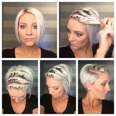 A triple twist perfect for these hot summer days. Super easy to do, three two stranded twists rubber banded together then Bobby pinned back.