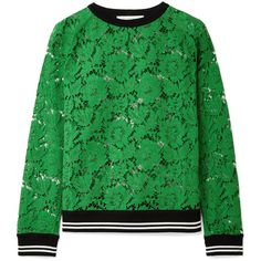 Valentino Jersey-trimmed corded cotton-blend lace sweatshirt (£870) ❤ liked on Polyvore featuring tops, hoodies, sweatshirts, sweaters, jersey top, loose tops, green jersey, green lace top and green top