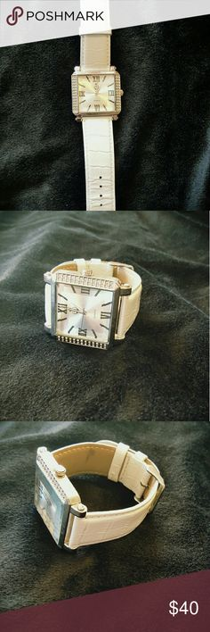 Premier designs watch Large square faced watch with white band. Only written a few times, but needs be battery. Premier Designs Accessories Watches