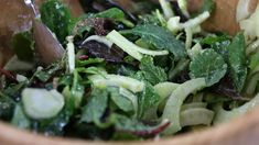 Vegetarian 'winter green' salad with tart orange blossom dressing