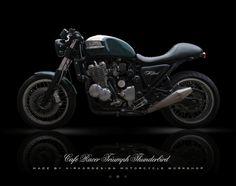 """La Triumph Thunderbird de Jean-Philippe, un bien beau racer """"British""""… Triumph Thunderbird 900, Thunderbird Cafe, Triumph Cafe Racer, Triumph Motorcycles, Triumph Legend, Jean Philippe, Cool Bikes, British, Classic"""