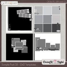Sample Pack 33 - 12x12 Templates :: Gotta Pixel Digital Scrapbook Store