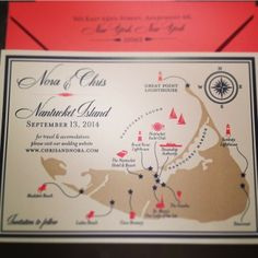 Coral and navy save the date for a #Nantucket #wedding I Custom by Nico and Lala