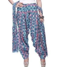 Stop By Shoppers Stop Women Cotton Printed Patiala And Dupatta (blue), http://www.snapdeal.com/product/stop-women-cotton-printed-patiala/654277903177