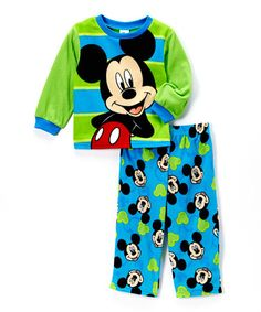 Another great find on #zulily! Green & Teal Mickey Mouse Pajama Set - Infant & Toddler #zulilyfinds