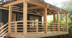 2016 34 Modern Porch Railing Design On Beams, Cedar Decking And Railing, A Modern Horizontal Railing Design
