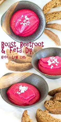 Beetroot dip with delicious Keto bread. Rich earthy tones of the beetroot and the Keto bread are a fantastic accompaniment to a smooth glass of white wine. via @fatforweightlos