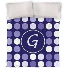 Thumbprintz Dots Monogram Duvet Cover, Navy, Blue