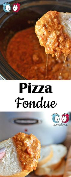 Pizza Fondue from Alarm Clock Wars. This Pizza Fondue will keep warm in your slow cooker as long as you need it to. but it wont last long! Packed with meat and cheese, its pizza on a spoon! Slow Cooker Dips, Slow Cooker Recipes, Crockpot Recipes, Cooking Recipes, Dip Recipes, Cheese Recipes, Appetizer Recipes, Snack Recipes, Appetizers