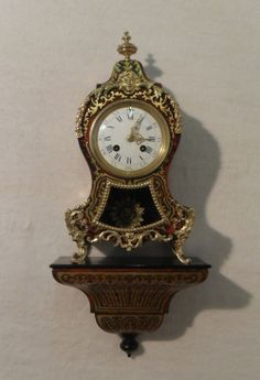 French Boulle Mantel Clock on Bracket