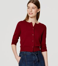 Perennially polished, this soft knit gets ready for warmer weather with cooly cropped proportions. Ribbed neckline, cuffs and hem. Cropped Cardigan, Open Cardigan, Petite Sweaters, Cute Cardigans, Waffle Knit, Stylish, Sleeves, Loft, Clothes