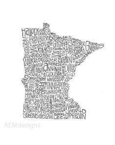Minnesota Illustration by AEMdesignsByAlex on Etsy, $25.00