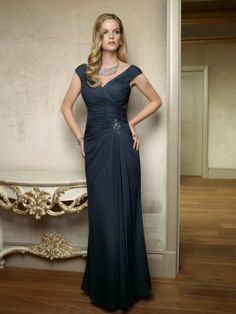 Buy Floor Length Iridescent Taffeta Mother of the Bride Dress Matching 3/4 length Jacket-HuLu