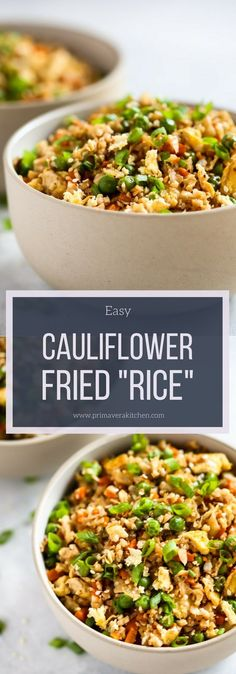 Easy Cauliflower Fried Rice Recipe - Primavera Kitchen - If you love fried rice, but don't enjoy the carb count that comes with it, you'll love this Easy Cauliflower Fried Rice recipe. It's ready in less than 20 minutes and it's loaded with veggies such as cauliflower, onions, carrots, and green peas. #glutenfree #vegetarian #lunch #easyrecipe #healthyrecipe #cauliflwerrice